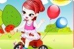 Jeune fille sur tricycle