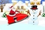 Père Noël en scooter des neiges